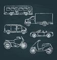 set of transport sketches on chalkboard vector image