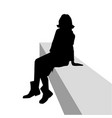 silhouette curly woman sitting on a bench lean