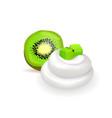 soft whipped cream and fresh juicy half kiwi vector image vector image