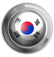 south korea flag on round badge vector image