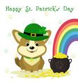 stpatrick s day cute dog corgi in a leprechaun vector image