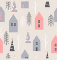winter christmas pattern with houses and trees vector image vector image