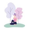 woman doing yoga harmony posture vector image
