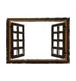 wooden window open glass frame vector image vector image
