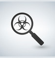 a magnifier icon with a biohazard sign vector image vector image