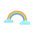 a rainbow with clouds in kawaii vector image vector image
