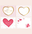 a set of assorted valentines day cards vector image vector image