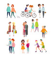 big set of walking and vector image vector image