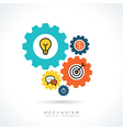 Business start up concept with colorful gear icons vector image