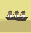 businessman rowing team teamwork concept vector image vector image