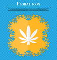 Cannabis leaf Floral flat design on a blue vector image