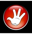 Cartoon stop hand on the red button vector image