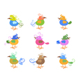 colorful cartoon birds vector image vector image