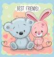 cute bear and rabbit vector image