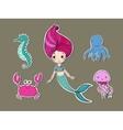Cute cartoon mermaid funny crab jellyfish vector image
