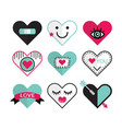 Cute heart and love icon emblems design elements