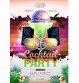 disco background disco ball summer cocktail party vector image