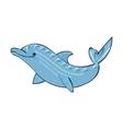 Dolphin sea animal ornament silhouette vector image vector image