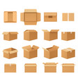empty cardboard packages boxes set open and vector image vector image