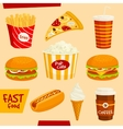 Fastfood icons set Snacks and beverages elements vector image vector image