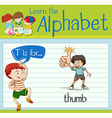 Flashcard letter T is for thumb vector image vector image