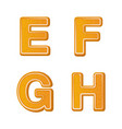 gingerbread alphabet letters from e to h for vector image