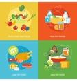 Healthy eating flat set vector image vector image