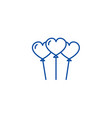 heart shaped balloons line icon concept heart vector image