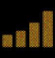 hexagon halftone bar chart icon vector image vector image