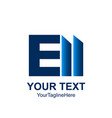 initial letter e logo template colored blue bar vector image