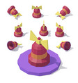 low poly bell with a bow vector image vector image