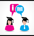 Male and female students thinking about education vector image vector image