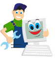master on repair computer embraces computer flat vector image vector image