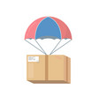 pakage box with parachute vector image vector image