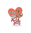 pets love and friendshiplinear logo template vector image vector image