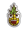 pineapple fruit character comic icon vector image
