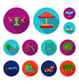 playground entertainment flat icons in set vector image vector image