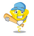 playing baseball star balloon was flown mascot sky vector image