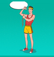 pop art funny sportsman measures his muscles vector image vector image