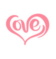 red calligraphy word love valentines day vector image