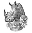 rhino badge retro rhinoceros rugsport vector image vector image