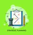 rook chess piece pencil and strategic plan drawn vector image