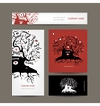 Set of business cards design with old family tree vector image vector image
