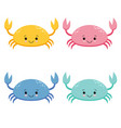 set of cute colored cartoon crab vector image vector image