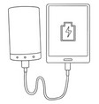set of smartphone charging via power bank vector image