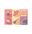 sewing tools settailoring equipment dressmaking vector image