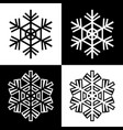 snowflake symbols icons simple black white set 5 vector image vector image