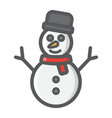 snowman filled outline icon new year vector image