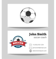 Soccer coach business card template with logo vector image