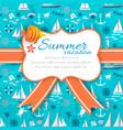 summer vacation banner on blue nautical background vector image vector image